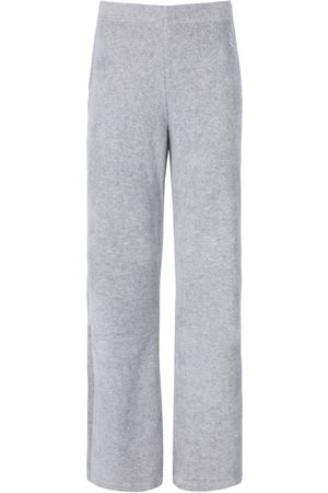 Juicy Couture Penelope Rib Velour Wide Leg Bottoms - Silver Marl