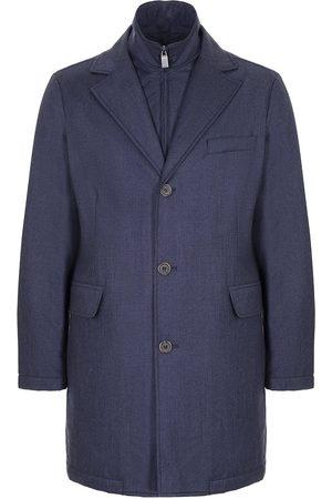 CANALI Men Rain Jackets - Dark Rain and Wind Proof Wool Coat O10381-SG02133-301