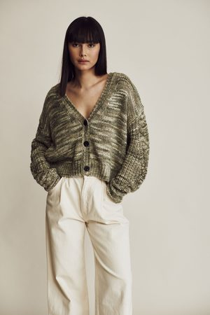 Line Women Cardigans - Evelyn Knit Cardigan Green Lily