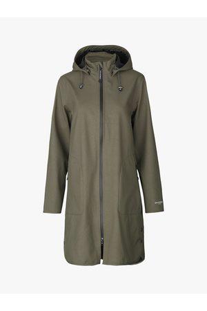 Ilse Jacobsen Women Rain Jackets - Soft Shell Raincoat with Detachable Hood - Army