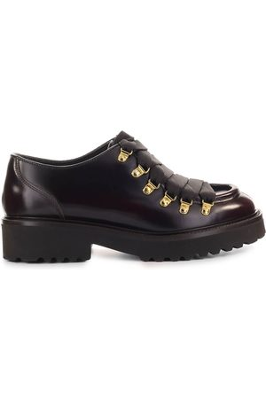 Doucal's BURGUNDY LEATHER DERBY LACE-UP