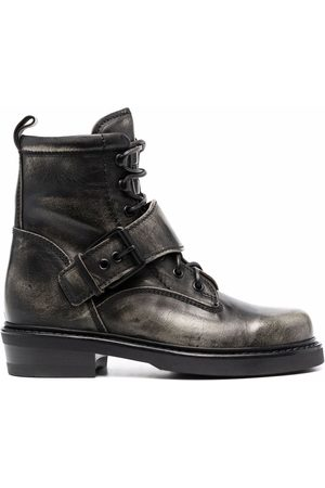 Buttero Buckle-strap lace-up boots