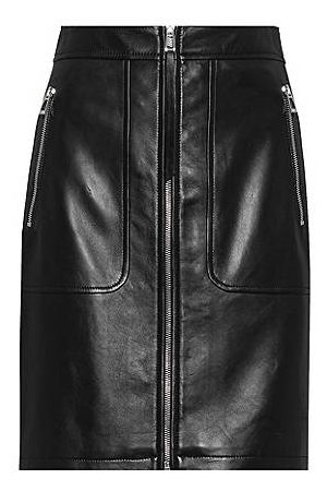HUGO BOSS Regular-fit skirt in leather with zipped details