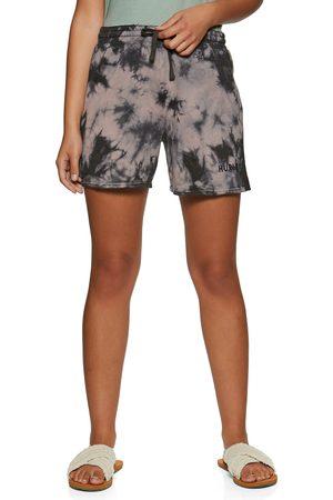 Hurley Women Shorts - Tate Fleece Track s Shorts - Blakc Coral Tie Dye