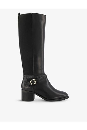 Dune Tildings croc-effect knee-high leather riding boots