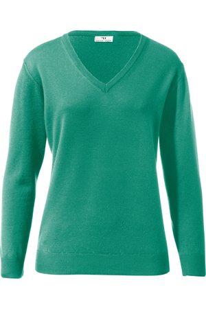 Peter Hahn Women Jumpers - V-neck jumper in 100% new milled wool design Inge turquoise size: 10