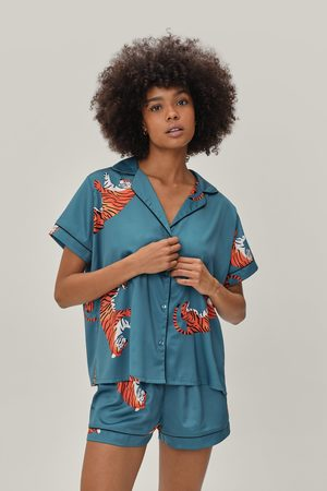 NASTY GAL Women Pyjamas - Womens Recycled Satin Tiger Pajama Short Set