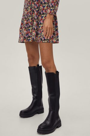 NASTY GAL Womens Faux Leather Knee High Boots