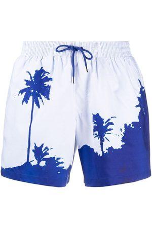 DRIES VAN NOTEN Men Swim Shorts - Palm tree print swim shorts