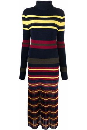 Serafini Striped knitted pleated dress