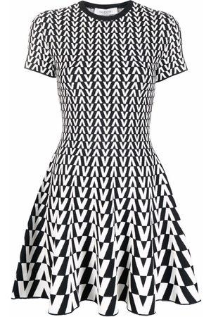 VALENTINO V logo knitted mini dress