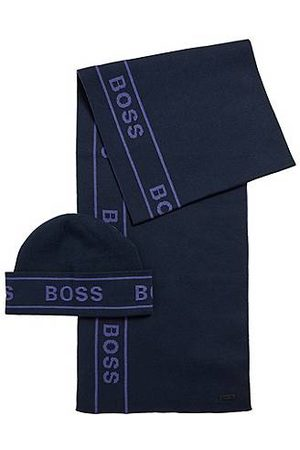HUGO BOSS Gift-boxed hat and scarf set with logo artwork