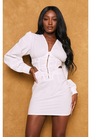 PRETTYLITTLETHING Long Sleeve Hook & Eye Ruched Cut Out Bodycon Dress