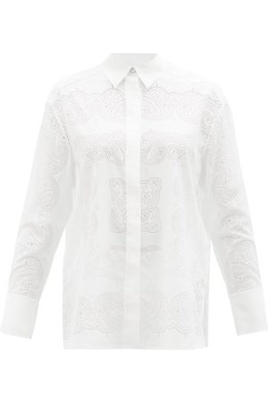 Givenchy Perforated Crepe De Chine Shirt - Womens