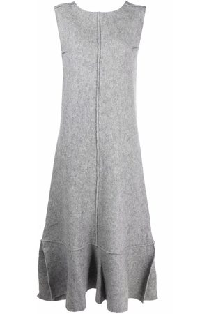 Jil Sander Women Knitted Dresses - Felted peplum-hem dress