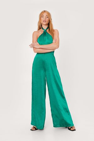 NASTY GAL Womens Petite Knot Front Wide Leg Jumpsuit
