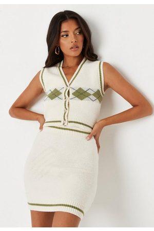 Missguided Cream Co Ord Argyle Knit Skirt, Cream