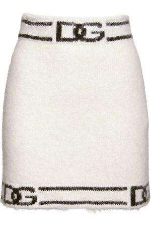Dolce & Gabbana Alpaca Blend Knit Logo Mini Skirt