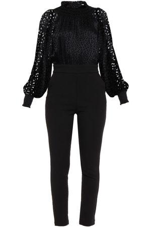 Michael Kors Woman Leopard-print Fil Coupé Chiffon-paneled Crepe Jumpsuit Size 0