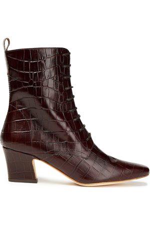 Miista Woman Zelie Croc-effect Leather Ankle Boots Dark Size 35
