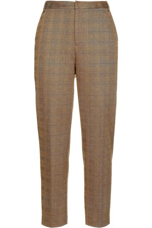 L'Agence Women Trousers - Woman Ludivine Cropped Metallic Prince Of Wales Checked Woven Tapered Pants Size 0