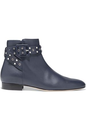 Jimmy Choo Woman Hallie Buckle-embellished Leather Ankle Boots Navy Size 34.5