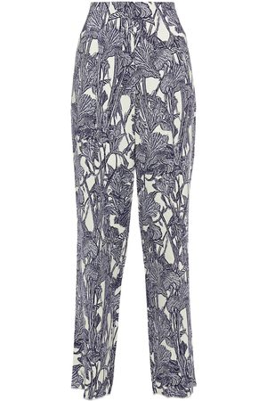 Roberto Cavalli Woman Pleated Printed Stretch-jersey Tapered Pants Ivory Size 38