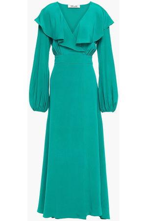 Diane von Furstenberg Woman Ruffled Silk Crepe De Chine Maxi Dress Jade Size 10