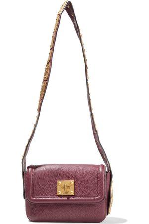 RED(V) Woman Sin Embellished Pebbled-leather Shoulder Bag Burgundy Size
