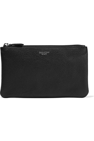 SERAPIAN Woman Pebbled-leather Pouch Navy Size