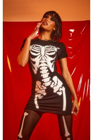 PRETTYLITTLETHING Holographic Skeleton Print T Shirt Dress