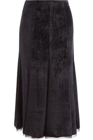 GABRIELA HEARST Amy Chiffon-trim Panné-velvet Midi Skirt - Womens
