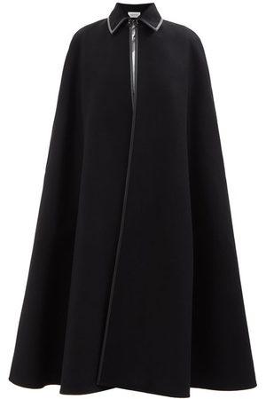 VALENTINO Leather-trim Wool Cape - Womens