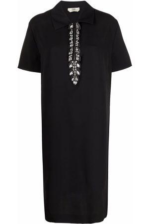 Fendi Crystal-embellished zip-up shift dress
