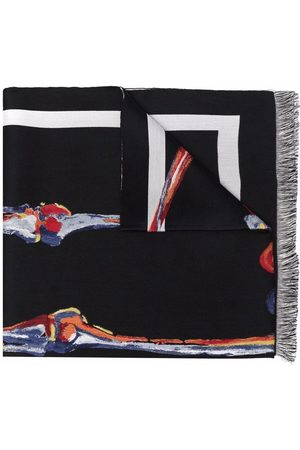 Alexander McQueen Skeleton graphic-print fringed scarf