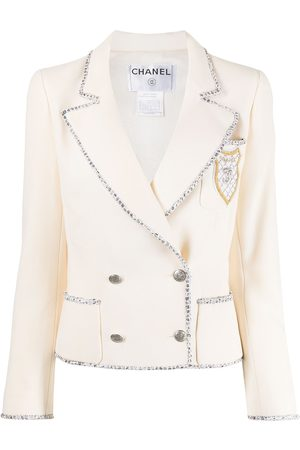 CHANEL 2005 logo patch double-breasted jacket