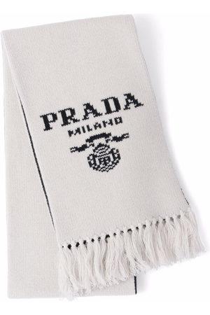 Prada Intarsia-knit logo scarf