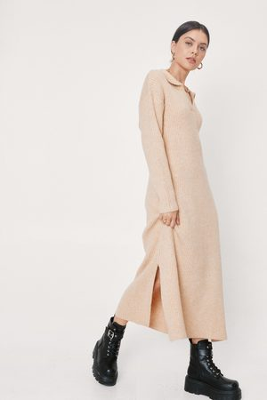 NASTY GAL Women Casual Dresses - Womens Collar Knitted Ribbed Midi jumper Dress