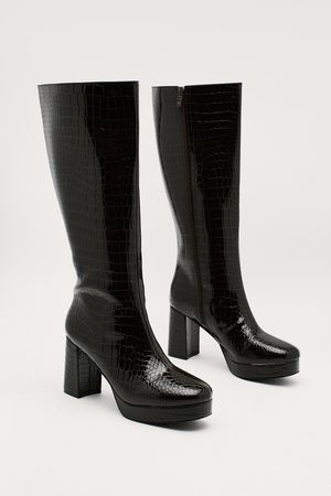 NASTY GAL Women Ankle Boots - Womens Patent Croc Platform Knee High Ankle Boots