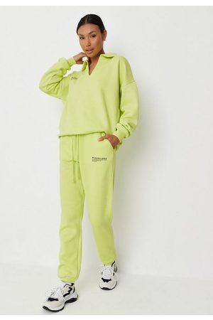 Missguided Women Joggers - Lime Co Ord Fleeceback Joggers, Lime