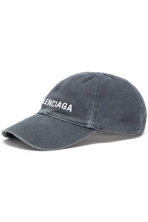 Balenciaga Logo-embroidered Washed-denim Baseball Cap - Mens - Dark