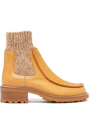 Chloé Jamie Knitted-cuff Leather Chelsea Boots - Womens - Tan