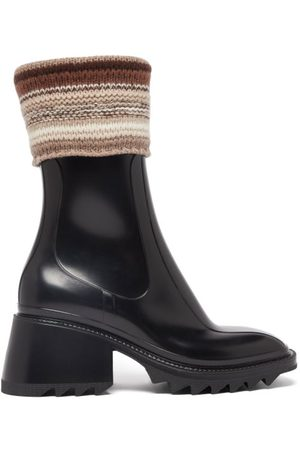 Chloé Betty Knitted-cuff Rubber Ankle Boots - Womens