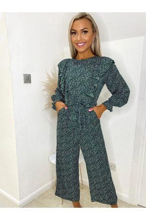 Ax Paris Forest Green Ditsy Frill Jumpsuit