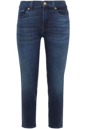 7 for all Mankind Women Skinny - Woman Roxanne Mid-rise Slim-leg Jeans Dark Denim Size 24