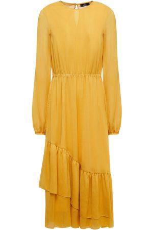 Paul Smith Women Midi Dresses - Woman Ruffled Crepon Midi Dress Saffron Size 38