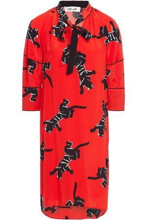 Diane von Furstenberg Women Printed Dresses - Woman Pussy-bow Printed Silk Crepe De Chine Mini Dress Size 2