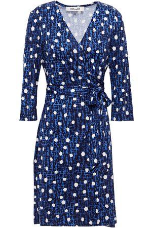 Diane von Furstenberg Women Casual Dresses - Woman Printed Silk-jersey Mini Wrap Dress Size L