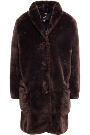 Paul Smith Women Coats - Woman Faux Fur Coat Chocolate Size 38