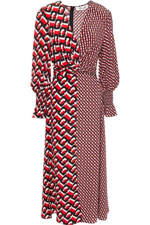 Diane von Furstenberg Women Midi Dresses - Woman Knotted Printed Silk Crepe De Chine Midi Dress Size 2
